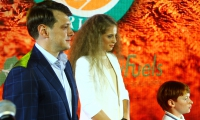 "Roman Vdovychenko, the winner of Roland Garros 2017 Alona Ostapenko and the hope of the Latvian tennis Aleksandrs Sotikovs at the awards ceremony of the tournament ""New Fuels La Rocca Open 2017"""