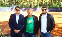 "Before opening of ""NewFuels La Rocca Open 2017"" – the organized of the tournament Jevgenijs Sotikovs (in the middle),representatives of the general sponsor Roman Vdovychenko and Orest Benko"